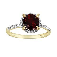 10k Gold Garnet & Diamond Accent Frame Ring