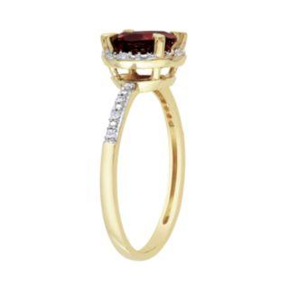 10k Gold Garnet and Diamond Accent Frame Ring