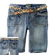 Mudd Belted Denim Bermuda Shorts - Girls Plus