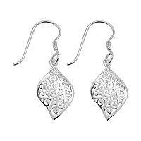 Silver Plated Filigree Leaf Drop Earrings
