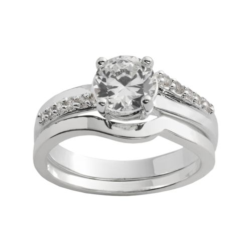 Silver Plated Cubic Zirconia Ring Set