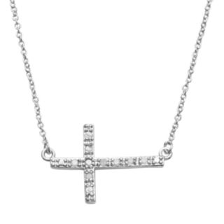 Silver Plate 1/10-ct. T.W. Diamond Sideways Cross Link Necklace