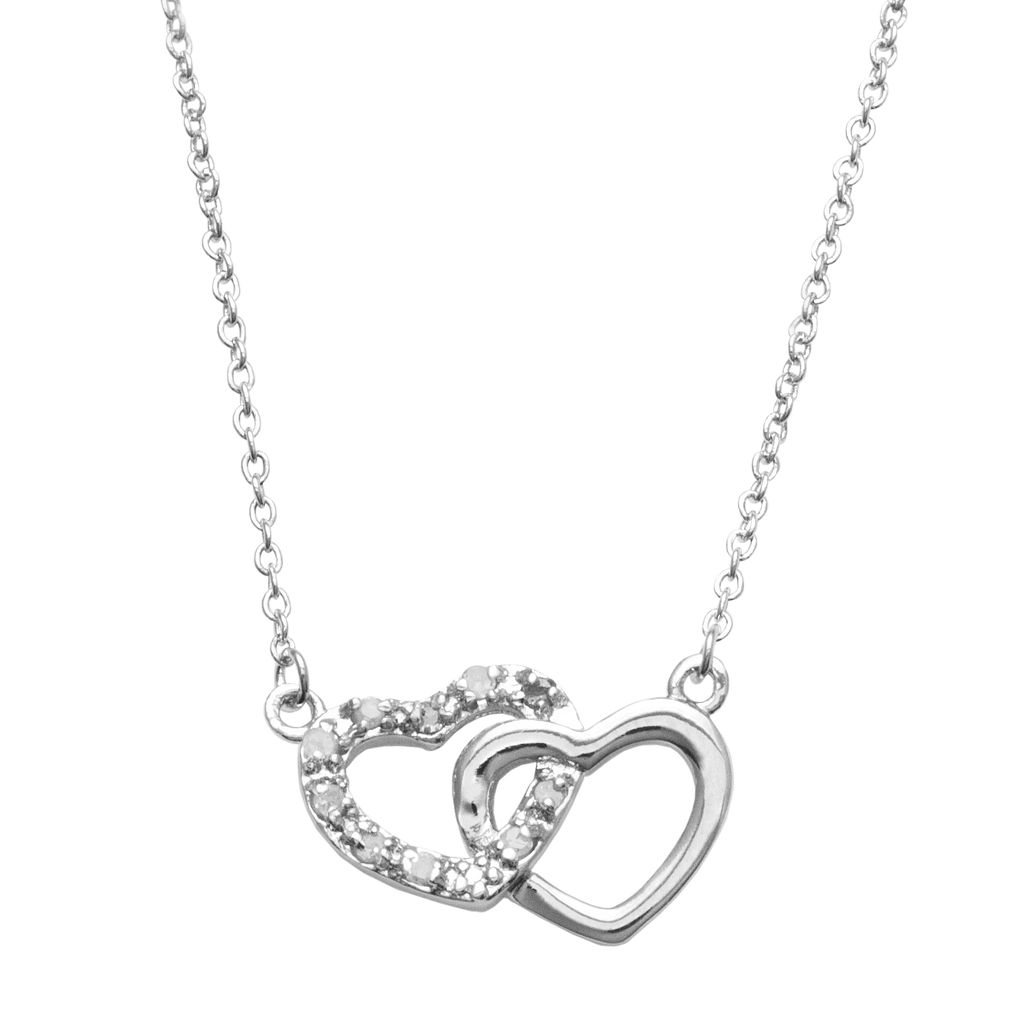 Silver Plated 1/10-ct. T.W. Diamond Interlocking Heart Link Necklace