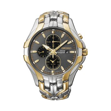 Seiko Men's Two Tone Stainless Steel Chronograph Solar Watch - SSC138