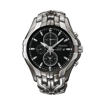 Seiko Men's Two Tone Stainless Steel Solar Chronograph Watch - SSC139