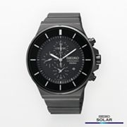 Seiko Solar Stainless Steel Black Ion Chronograph Watch - SNDD83 - Men