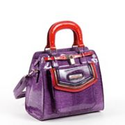 Nicole Lee Gianna Colorblock Snakeskin Convertible Satchel
