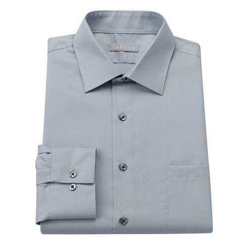 Men's Van Heusen Fitted Easy-Care Pique Spread-Collar Dress Shirt