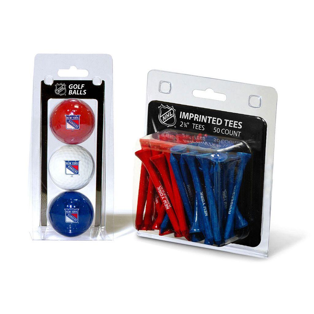 Team Golf New York Rangers Ball & Tee Set