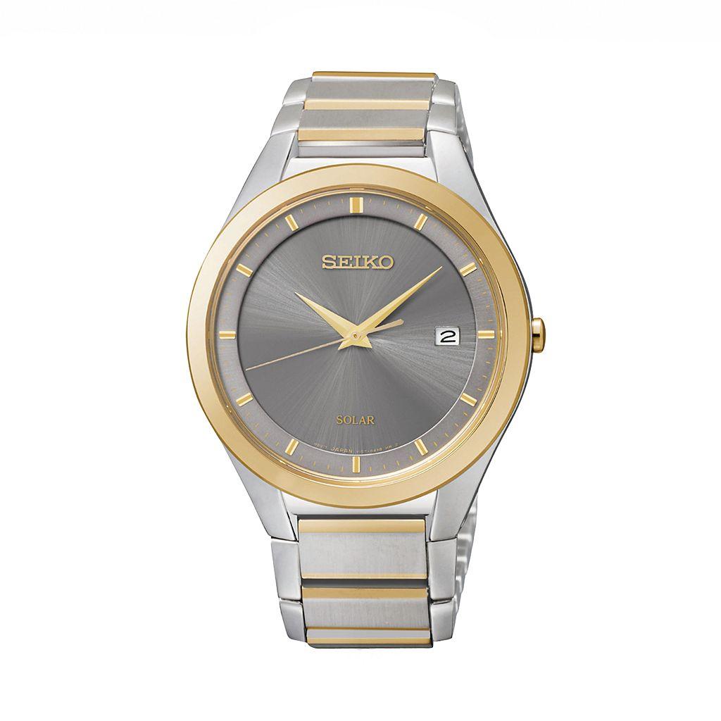 Seiko Men's Two Tone Stainless Steel Solar Watch - SNE242