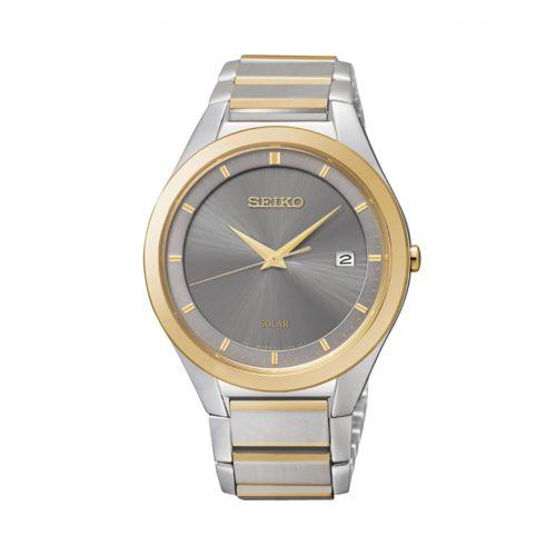 Seiko Solar Two Tone Stainless Steel Watch - SNE242 - Men