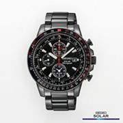 Seiko Solar Stainless Steel Black Ion Flight Computer Chronograph Watch - SSC145 - Men
