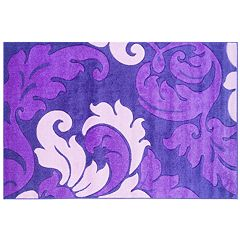 Linon Corfu Collection Leaves Rug