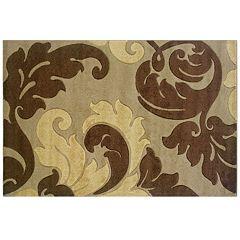 Linon Corfu Collection Leaves Rug