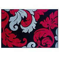 Linon Corfu Collection Leaves Rug - 5' x 7'7''