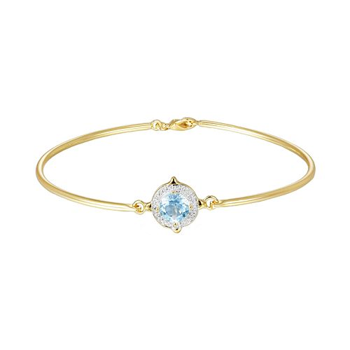 18k Gold Plate Sky Blue Topaz & Diamond Accent Bracelet