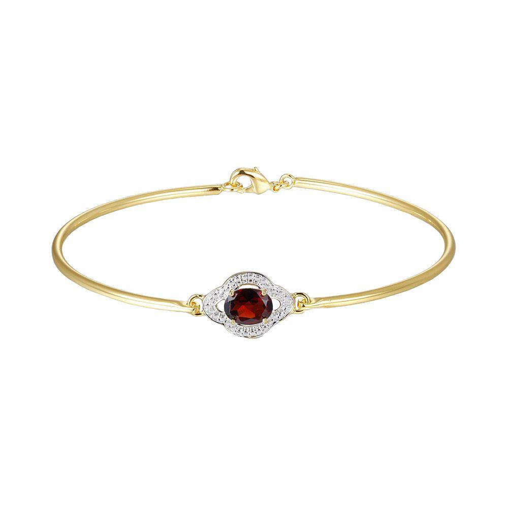 18k Gold Plate Garnet & Diamond Accent Bracelet