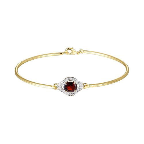 18k Gold Plate Garnet & Diamond Accent Bracelet