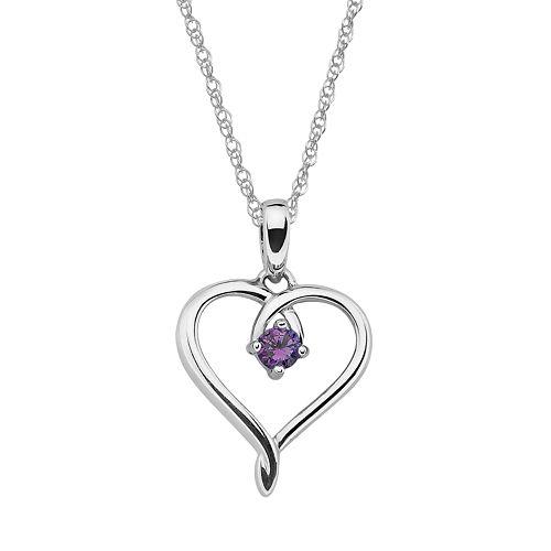 Sterling Silver Amethyst Openwork Heart Pendant