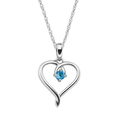Sterling Silver Aquamarine Openwork Heart Pendant