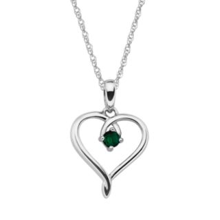 Sterling Silver Lab-Created Emerald Openwork Heart Pendant