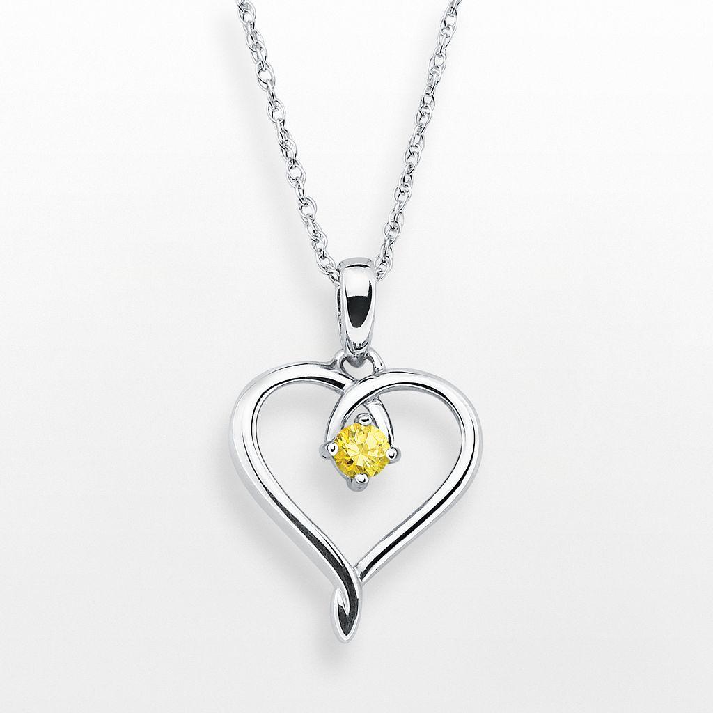 Sterling Silver Citrine Openwork Heart Pendant
