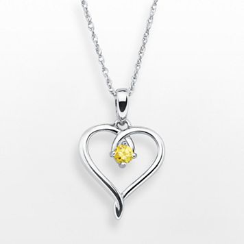 Sterling Silver Citrine Openwork Heart Pendant
