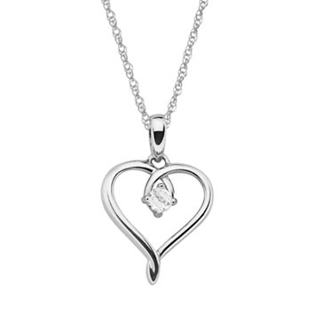 Sterling Silver Lab-Created White Sapphire Openwork Heart Pendant