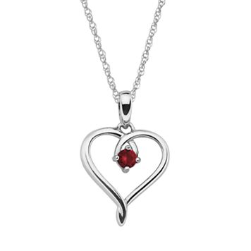 Sterling Silver Garnet Openwork Heart Pendant