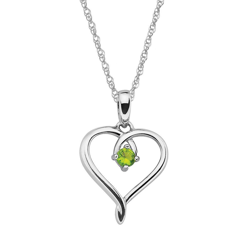 Sterling Silver Peridot Openwork Heart Pendant