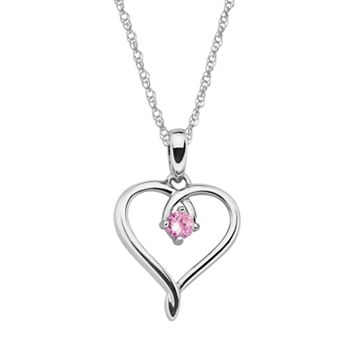 Sterling Silver Pink Tourmaline Openwork Heart Pendant