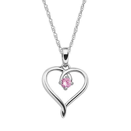 Sterling Silver Pink Tourmaline Openwork Heart Pendant