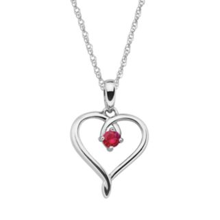 Sterling Silver Ruby Openwork Heart Pendant