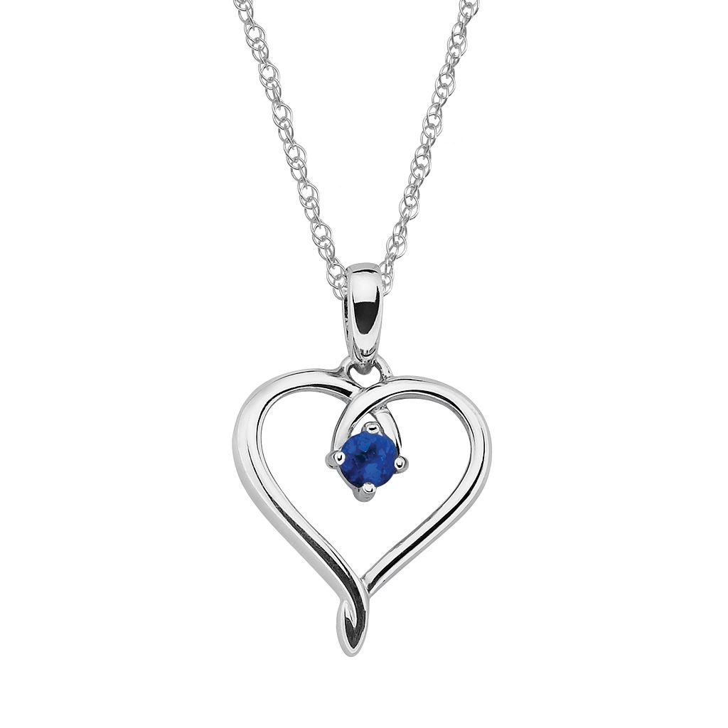 Sterling Silver Sapphire Openwork Heart Pendant