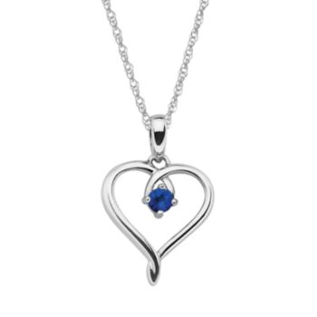 Sterling Silver Sapphire Openwork Heart Pendant