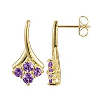 18k Gold Over Sterling Silver Amethyst Drop Earrings