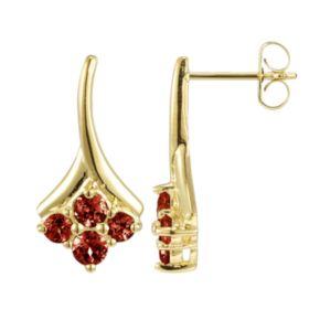 18k Gold Over Sterling Silver Garnet Drop Earrings