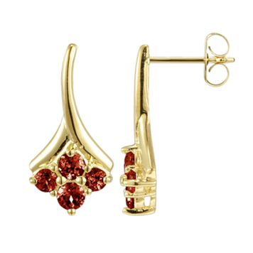18k Gold Over Sterling Silver Garnet Drop Earrings