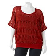 Eyelash Crochet Dolman Top - Juniors' Plus