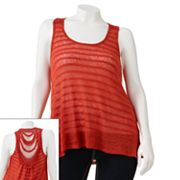 Eyelash Knit Lace Tank - Juniors Plus