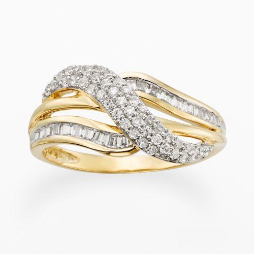 YellOra 1/2-ct. T.W. Diamond Crisscross Ring