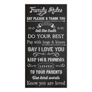 Family Rules Canvas Wall Art by Louise Carey