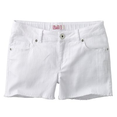 SO Solid Frayed Shorts - Girls 7-16