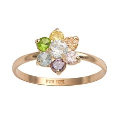 Junior Jewels 10k Gold Cubic Zirconia Flower Ring - Kids