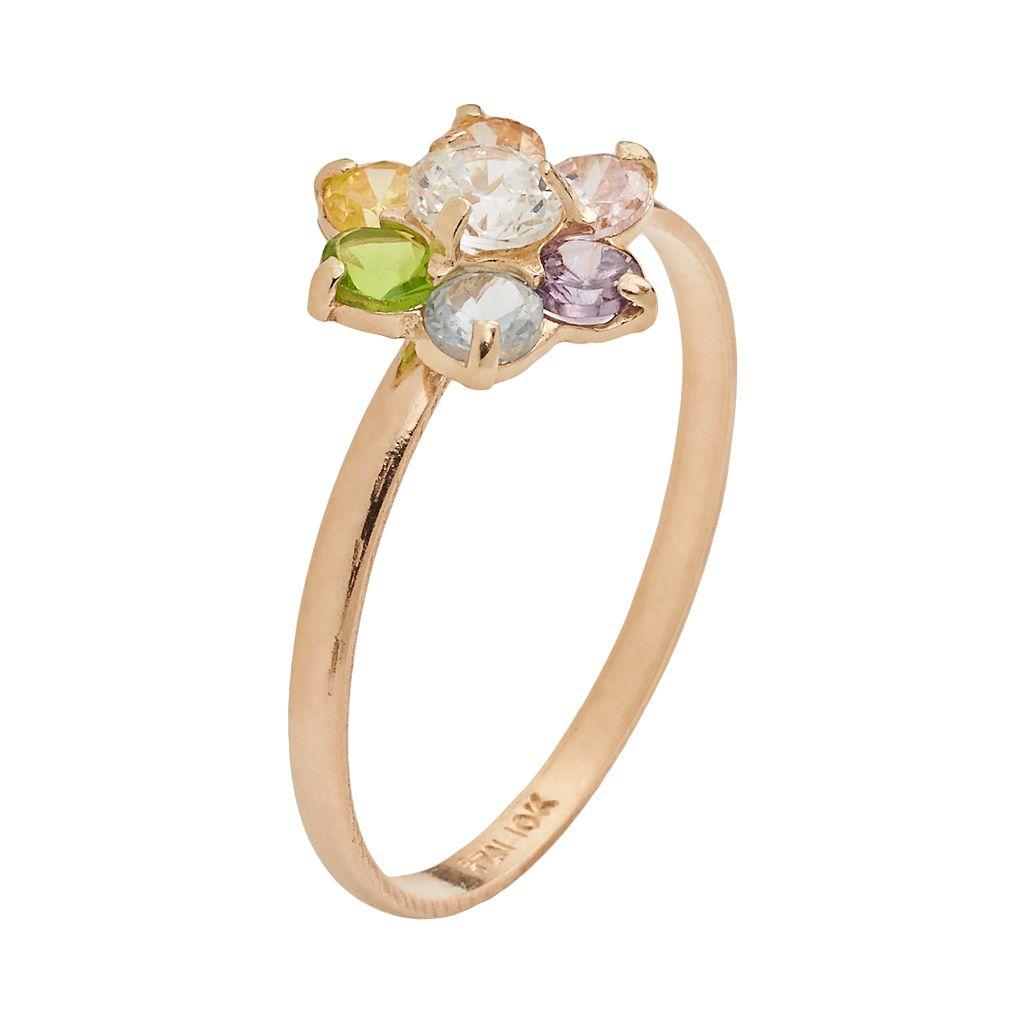 Junior Jewels 10k Gold Cubic Zirconia Flower Ring - Kids