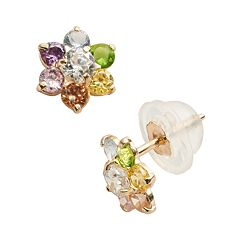 Junior Jewels 14k Gold Cubic Zirconia Flower Stud Earrings - Kids