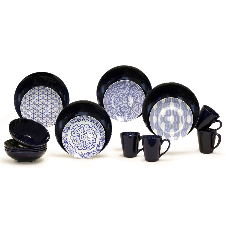 sc 1 st  Kohlu0027s & Baum Blue u0026 White 16-pc. Dinnerware Set