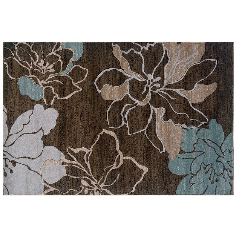 Linon Milan Floral Silhouettes Rug, Brown, 5X8 Ft Add natural beauty to your home with thisLinon rug.Features 1'10 x 2'10 Power loomed Action backing Construction & Care Polypropylene Professional clean Manufacturer's 6-month limited warrantyFor warranty information please click here Imported Attention: All rug sizes are approximate and should measure within 2-6 inches of stated size. Pattern may also vary slightly.  Size: 5X8 Ft. Color: Brown. Gender: unisex. Age Group: adult. Pattern: Floral. Material: Synthetic.