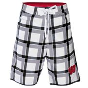 Wisconsin Badgers Plaid Swim Trunks - Men