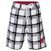 Rutgers Scarlet Knights Plaid Swim Trunks - Men